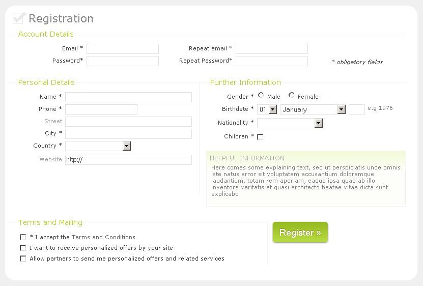 CSS Registration form