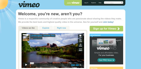 Example of beautiful web design - Vimeo.com