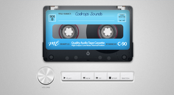 See the demo Old School Cassette Player with HTML5 Audio