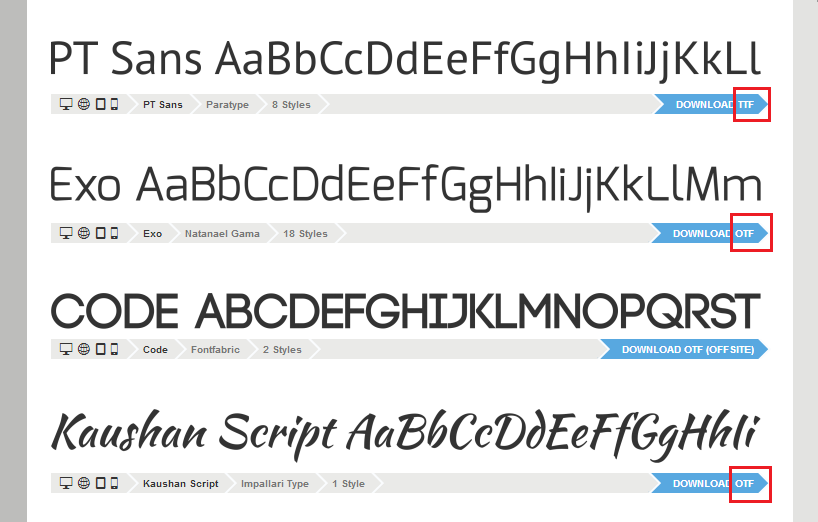 Screenshot of some free fonts available for download from FontSquirrel.