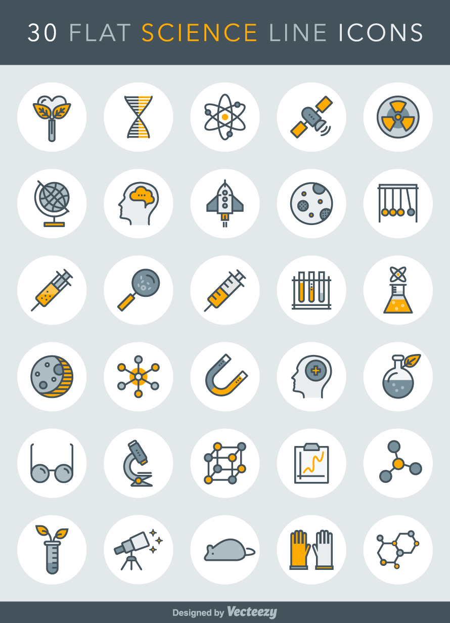 flat-science-line-icons-vector