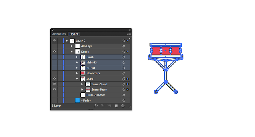 SVG layers with all of the snare drum selected