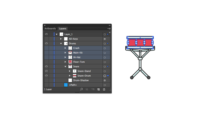 SVG layers with just the snare drum selected