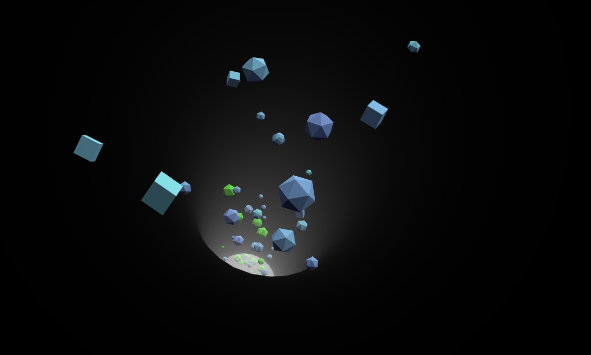 Screenshot of a low poly particles demo - Infinite Tubes with Three.js