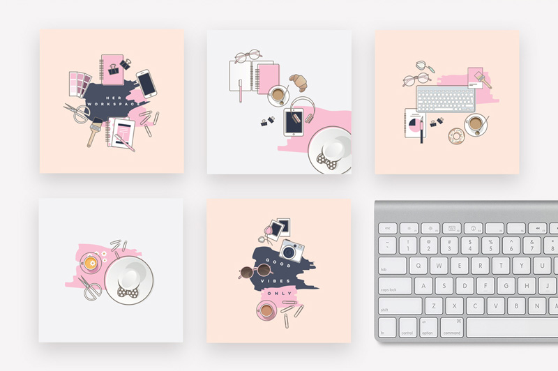 Her-Workplace-illustrated-instagram-pack1