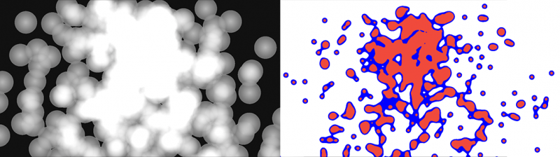 Rendering multiple 2D quads and turning them to metaballs with post-processing.