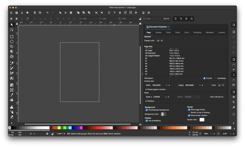 Screen capture showing Inkscape's main screen. Document properties are open on the left with units set to pixels. The document is blank.