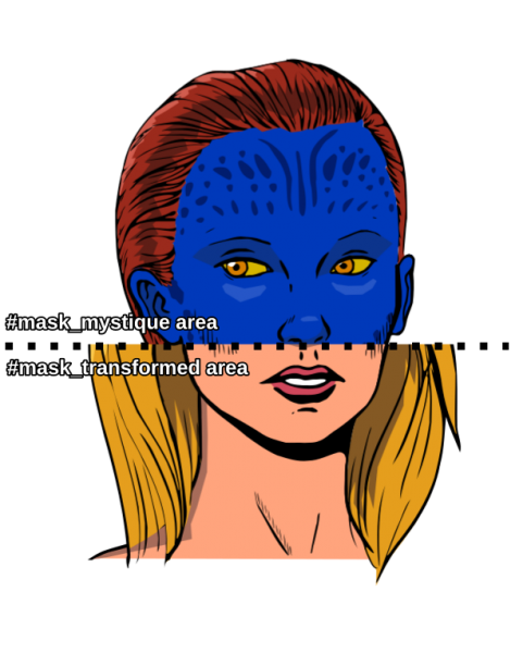 An image of a half transformed mystique. From the middle to the top, she's in her blue form, from the middle to the bottom, she's in her transformed, blonde form. There are labels indicating the position of the masks, mask_mystique_area at the top and mask_transformed_area at the bottom.